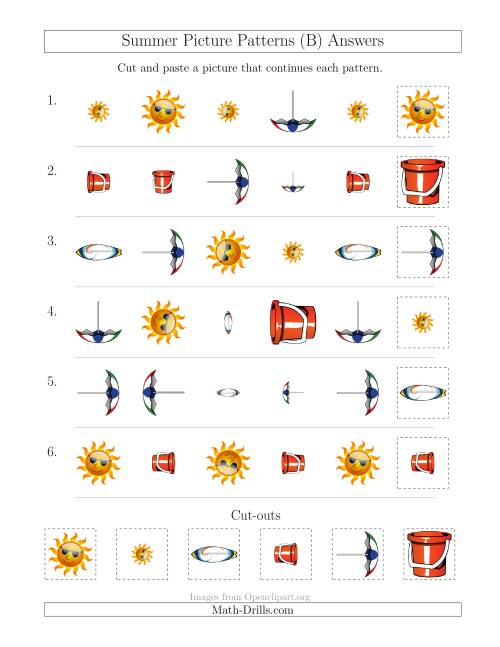 The Summer Picture Patterns with Shape, Size and Rotation Attributes (B) Math Worksheet Page 2