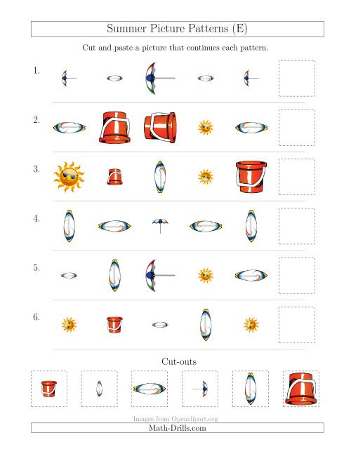 The Summer Picture Patterns with Shape, Size and Rotation Attributes (E) Math Worksheet