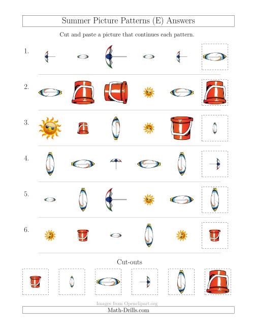 The Summer Picture Patterns with Shape, Size and Rotation Attributes (E) Math Worksheet Page 2