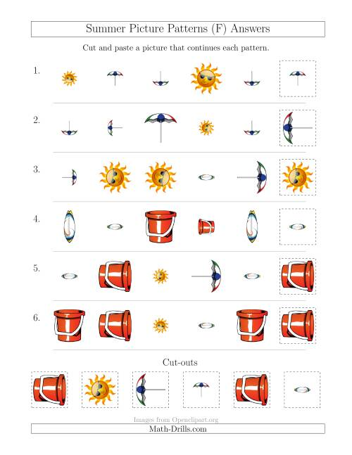 The Summer Picture Patterns with Shape, Size and Rotation Attributes (F) Math Worksheet Page 2