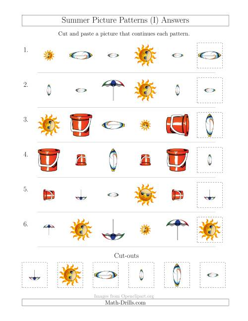 The Summer Picture Patterns with Shape, Size and Rotation Attributes (I) Math Worksheet Page 2