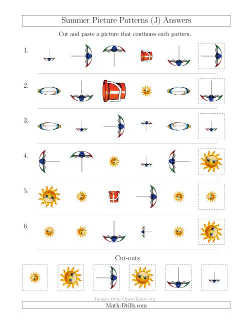The Summer Picture Patterns with Shape, Size and Rotation Attributes (J) Math Worksheet Page 2