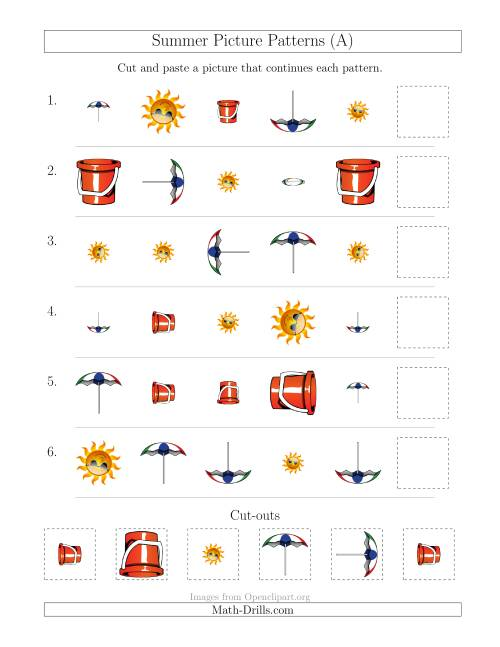 The Summer Picture Patterns with Shape, Size and Rotation Attributes (All) Math Worksheet