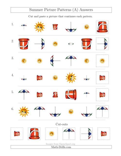 The Summer Picture Patterns with Shape, Size and Rotation Attributes (All) Math Worksheet Page 2