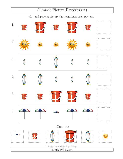 The Summer Picture Patterns with Size Attribute Only (A) Math Worksheet