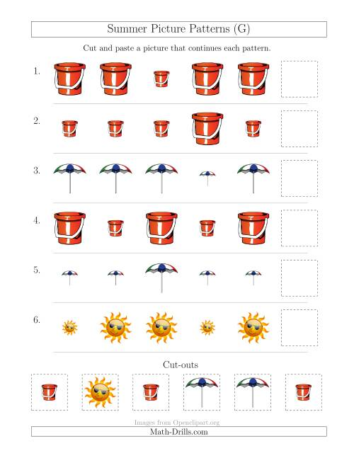 The Summer Picture Patterns with Size Attribute Only (G) Math Worksheet
