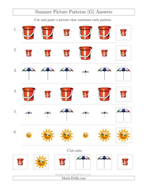 The Summer Picture Patterns with Size Attribute Only (G) Math Worksheet Page 2