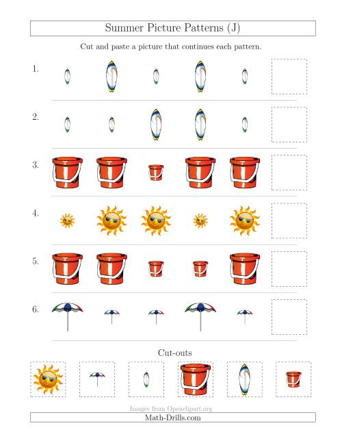 The Summer Picture Patterns with Size Attribute Only (J) Math Worksheet