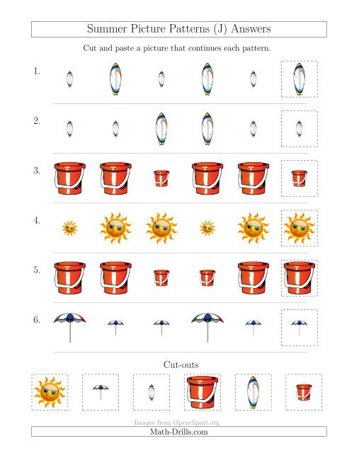The Summer Picture Patterns with Size Attribute Only (J) Math Worksheet Page 2