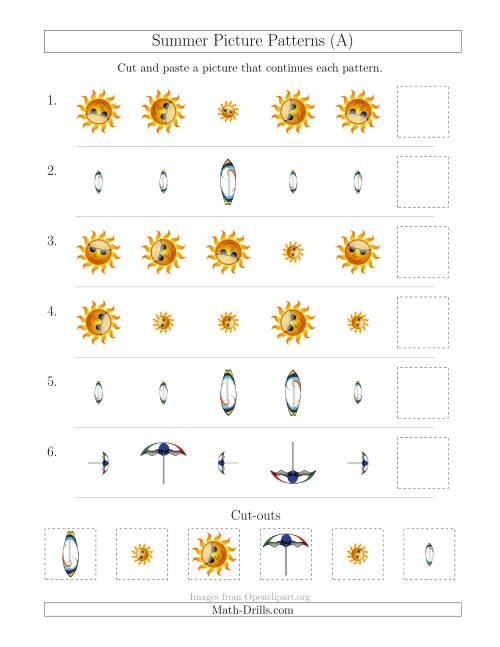 The Summer Picture Patterns with Size and Rotation Attributes (A) Math Worksheet