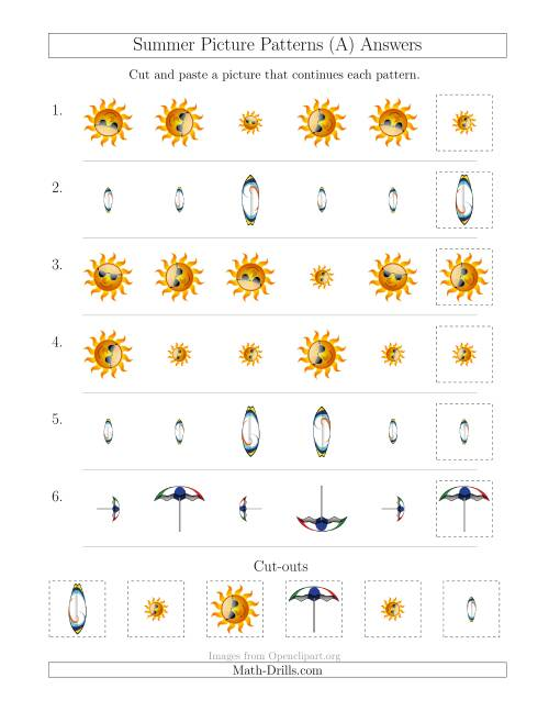 The Summer Picture Patterns with Size and Rotation Attributes (A) Math Worksheet Page 2