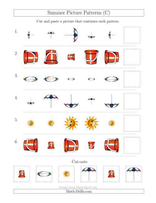 The Summer Picture Patterns with Size and Rotation Attributes (C) Math Worksheet