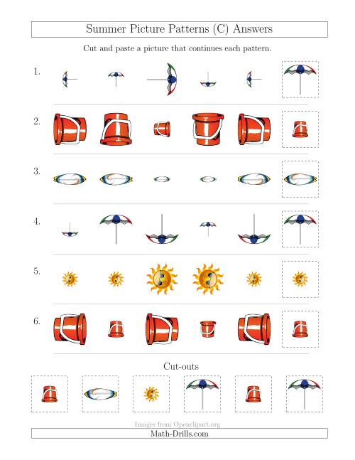 The Summer Picture Patterns with Size and Rotation Attributes (C) Math Worksheet Page 2