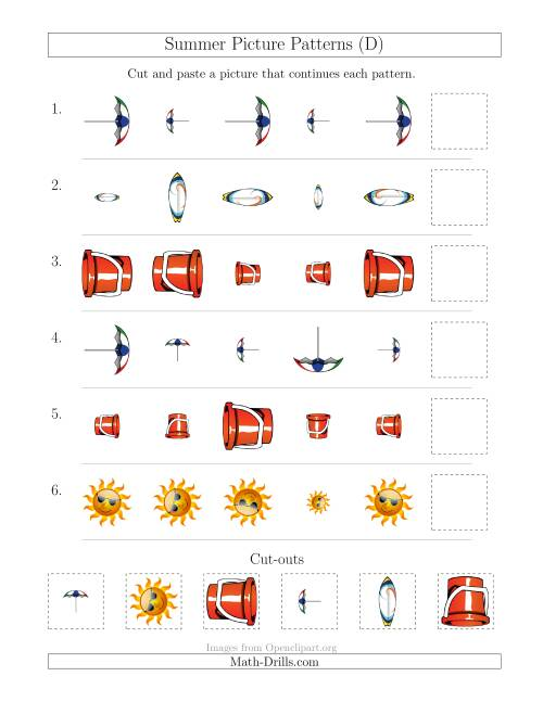 The Summer Picture Patterns with Size and Rotation Attributes (D) Math Worksheet