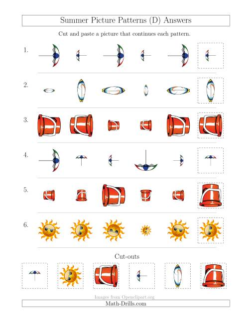The Summer Picture Patterns with Size and Rotation Attributes (D) Math Worksheet Page 2