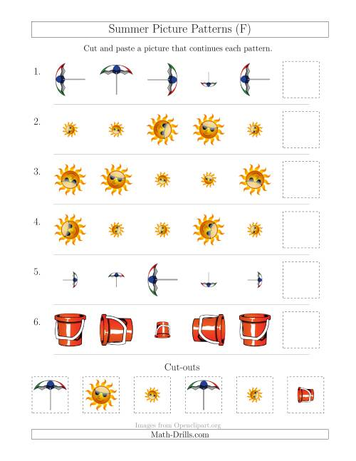 The Summer Picture Patterns with Size and Rotation Attributes (F) Math Worksheet