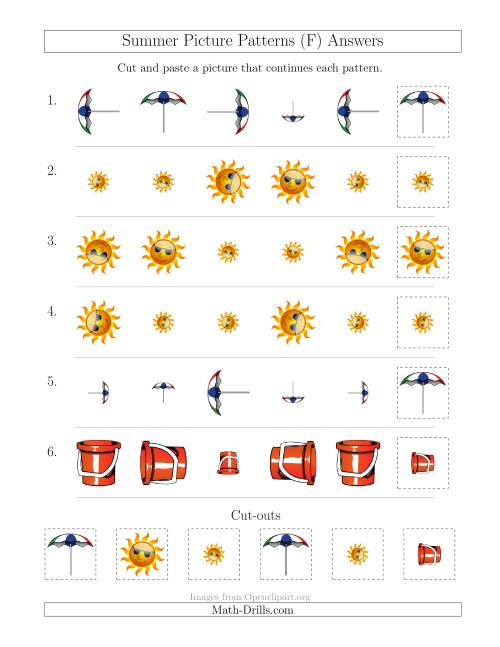The Summer Picture Patterns with Size and Rotation Attributes (F) Math Worksheet Page 2