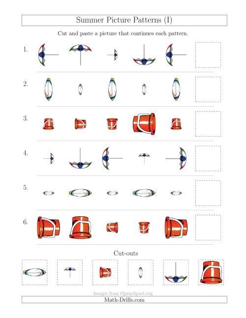 The Summer Picture Patterns with Size and Rotation Attributes (I) Math Worksheet