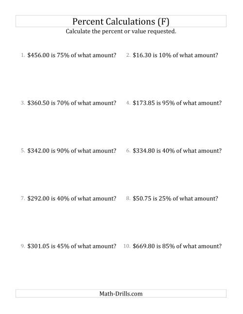 The Calculating the Original Currency Amount with Decimals and Multiples of 5 Percents (F) Math Worksheet