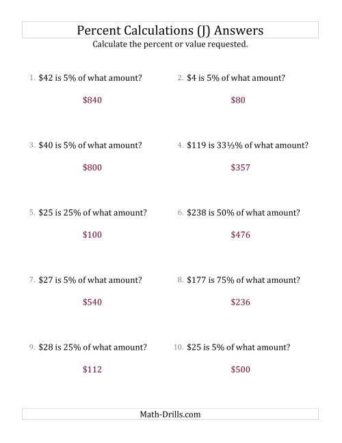 The Calculating the Original Currency Amount with Whole Numbers and Select Percents (J) Math Worksheet Page 2