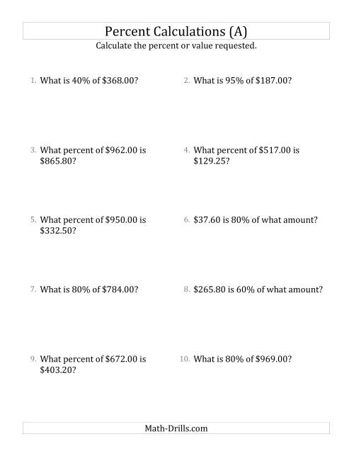 The Mixed Percent Problems with Decimal Currency Amounts and Multiples of 5 Percents (A) Math Worksheet