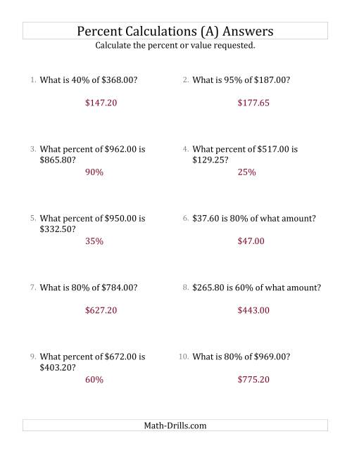 The Mixed Percent Problems with Decimal Currency Amounts and Multiples of 5 Percents (A) Math Worksheet Page 2