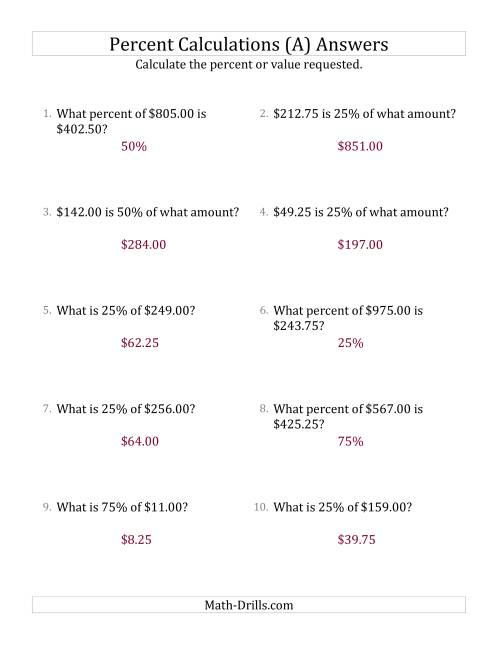 The Mixed Percent Problems with Decimal Currency Amounts and Multiples of 25 Percents (A) Math Worksheet Page 2