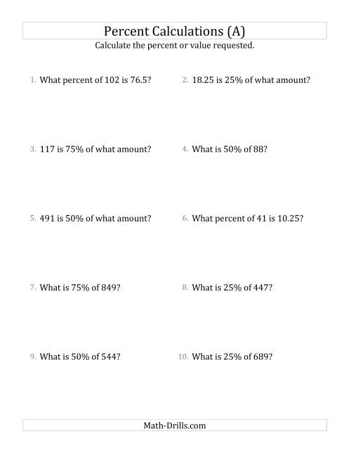 math worksheet : mixed percent problems with decimal amounts and multiples of 25  : Decimal Problems Worksheet