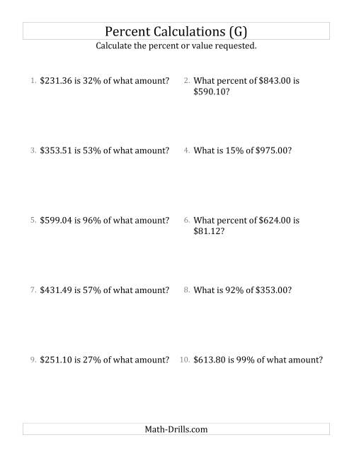 The Mixed Percent Problems with Decimal Currency Amounts and All Percents (G) Math Worksheet