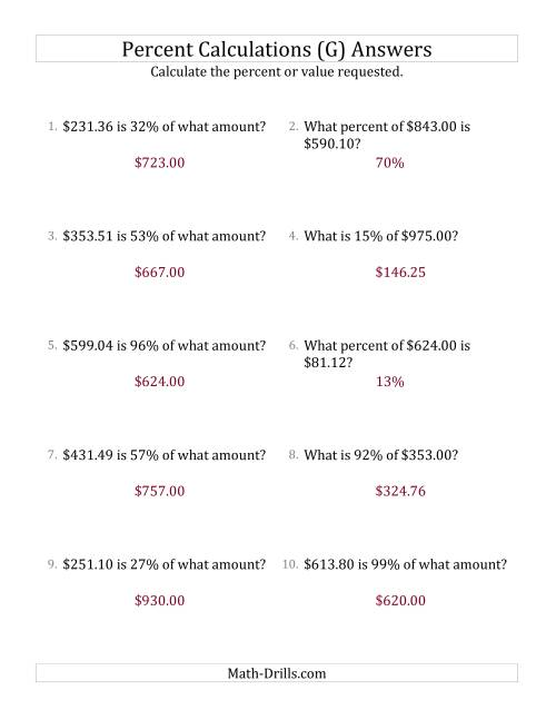 The Mixed Percent Problems with Decimal Currency Amounts and All Percents (G) Math Worksheet Page 2