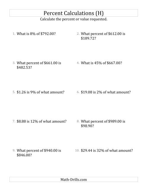 The Mixed Percent Problems with Decimal Currency Amounts and All Percents (H) Math Worksheet