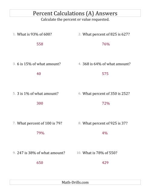 The Mixed Percent Problems with Whole Number Amounts and All Percents (A) Math Worksheet Page 2