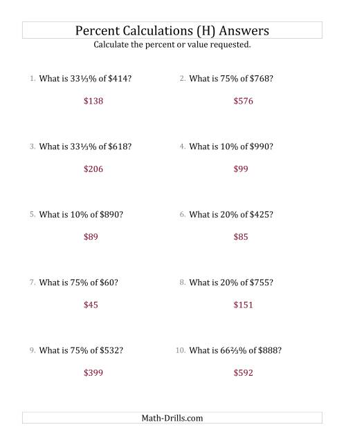 The Calculating the Percent Value of Whole Number Currency Amounts and Select Percents (H) Math Worksheet Page 2