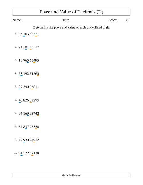 The Decimal Place Value to Hundred Thousandths (Decimal Point) (D) Math Worksheet