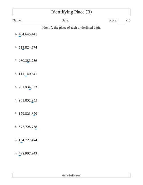 Identify Place to Hundred Millions (Comma Separator) (B) Place Value ...