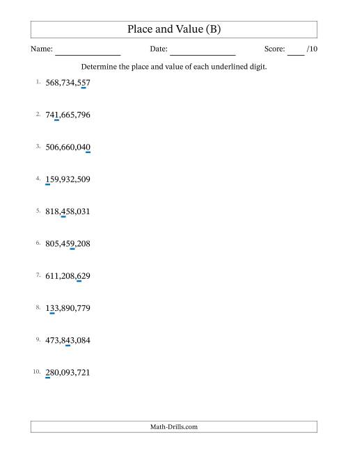The Determining Place Value and Digit Value from Ones to Hundred Millions (B) Math Worksheet
