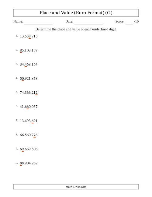 The Euro Format Determining Place Value and Digit Value from Ones to Ten Millions (G) Math Worksheet