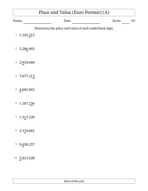 The Whole Number Place Value to Millions (Point Separator) (A) Math Worksheet