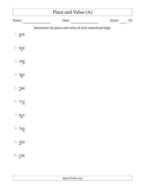 The Whole Number Place Value to Hundreds (A) Math Worksheet
