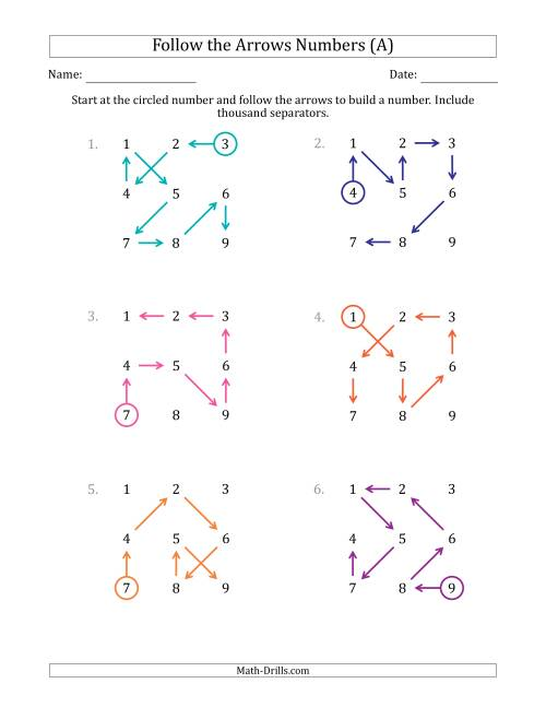 The Follow The Arrows to Build a Number and Include Thousands Separators (Grid Numbers in Order) (A) Math Worksheet