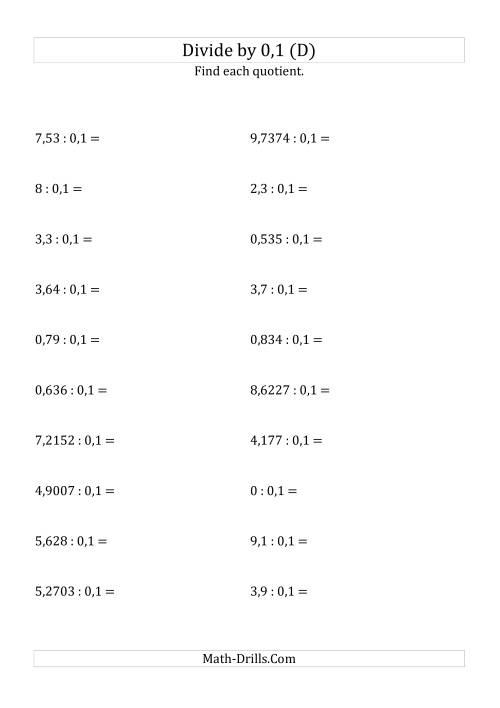The Dividing Decimals by 0,1 (D) Math Worksheet