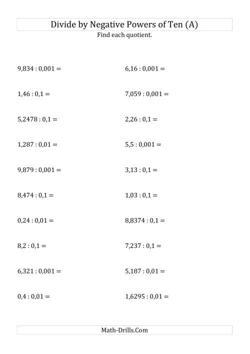 The Dividing Decimals by Negative Powers of Ten (Standard Form) (All) Math Worksheet