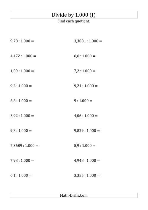 The Dividing Decimals by 1.000 (I) Math Worksheet