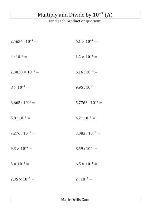 The Multiplying and Dividing Decimals by 10<sup>-1</sup> (A) Math Worksheet