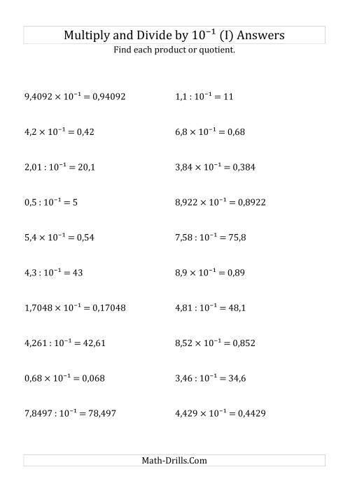 The Multiplying and Dividing Decimals by 10<sup>-1</sup> (I) Math Worksheet Page 2