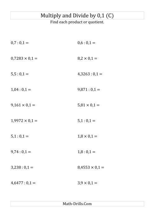 The Multiplying and Dividing Decimals by 0,1 (C) Math Worksheet