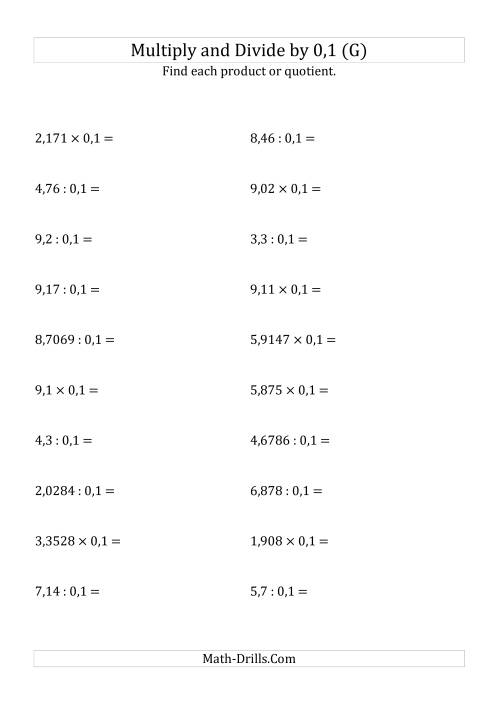 The Multiplying and Dividing Decimals by 0,1 (G) Math Worksheet