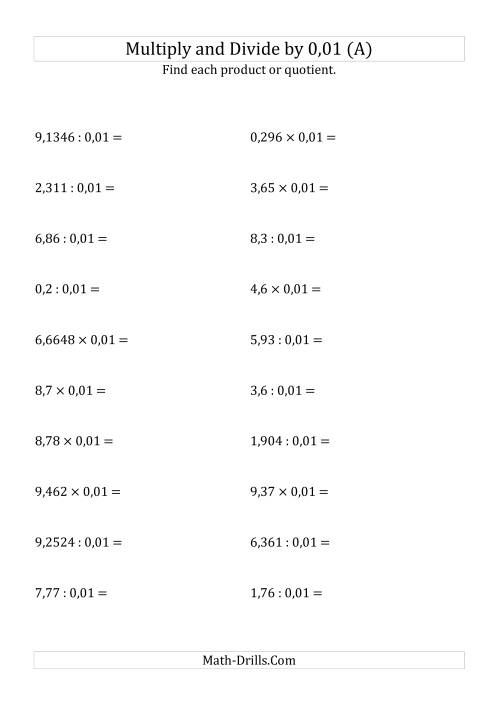 The Multiplying and Dividing Decimals by 0,01 (A) Math Worksheet