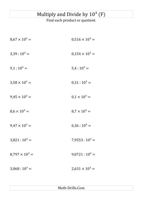 The Multiplying and Dividing Decimals by 10<sup>3</sup> (F) Math Worksheet