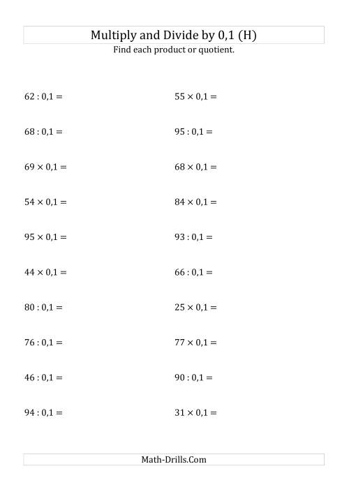 The Multiplying and Dividing Whole Numbers by 0,1 (H) Math Worksheet